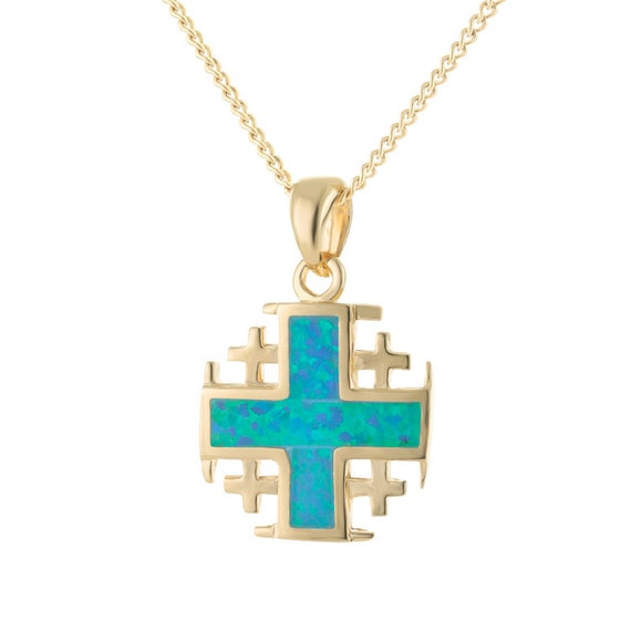 Cross gemstone pendant 14k gold plated necklace jerusalem cross gemstone pendant 14k gold plated necklace jerusalem cross necklace gold cross pendant gold cross necklace opal necklace aloadofball Image collections