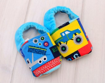 Blue Trucks Infant Shoes - Boys Toddler Shoes - First Walking Baby Moccasins - Slip Resistant Crib Shoes - Soft Sole Baby Booties