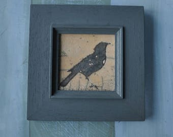 Blackbird framed raku panel