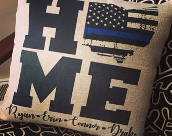 Thin blue line Ohio burlap personalized pillow cover