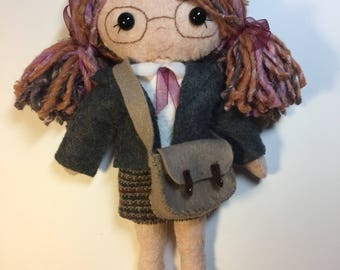Stuffed felt schoolgirl Doll