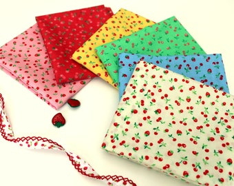 Old New 30's spring 2015 strawberries and cherries fat quarter bundle by Lecien