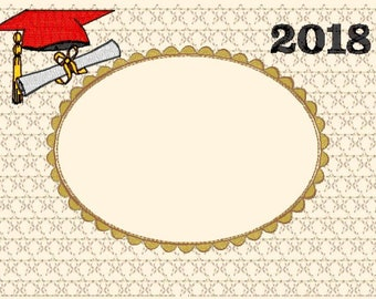 Graduation Frame Matte 2018 machine embroidery designs - 8 different designs