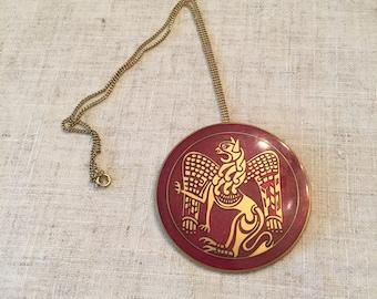 Vintage MMA Medieval Griffin Medallion Pin