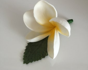 A Frangipani / Plumeria buttonhole yellow and white