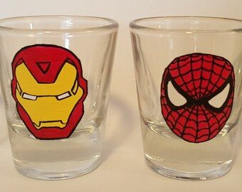 Set of Marvel Superhero Shot Glasses!