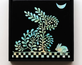 Moonlight Rabbits, ORIGINAL painting, framed, ready to hang, from the Topiary Series by Lisa Firke