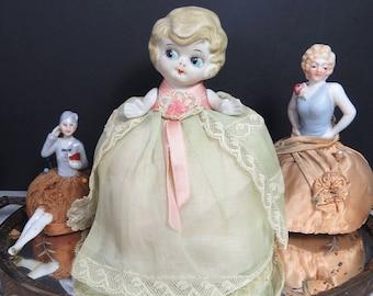 Bisque Doll Pin Cushion, Blonde Flapper, Kewpie, Googly Eyes, Vintage
