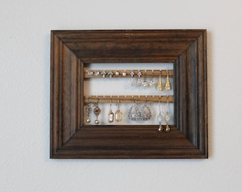 Hanging Earring Organizer | Jewelry Organizer Frame | Wood Jewelry Organizer | Hanging Earring Holder |  Jewelry Earring Display Frame