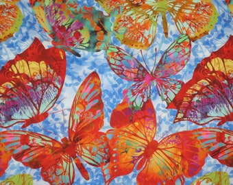 Stunning Orange and Blue Dreamscape II Butterfly Print Pure Cotton Fabric--By the Yard