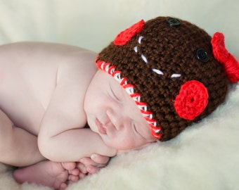 Gingerbread Girl Hat, Crochet hat, christmas hat, Girls hat, Accessories, Photography Prop, Toque, Winter beanie, Shower Gift, Newborn prop