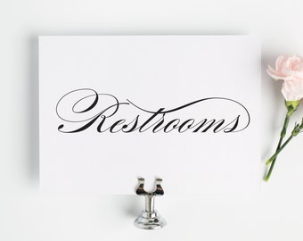 Restrooms Sign - Wedding Restroom Sign - Bathroom Sign - Wedding Bathrooms Signs - Black Ink