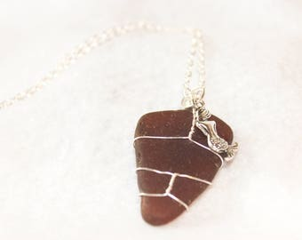 Brown Sea Glass Necklace, Sea Glass Necklace, Bohemian Mermaid Necklace, Ocean Jewelry, Sea Glass Jewelry, Natural Brown Sea Glass