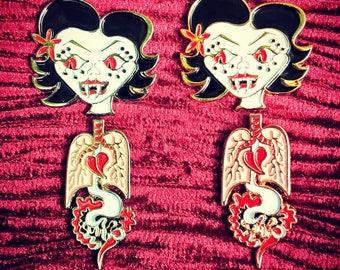 Leyak enamel pin set in coffin, rose gold or silver, Mystics in Bali, vampire, goth pins