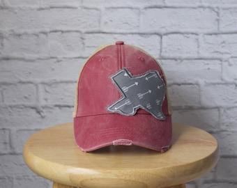 Trucker Hat Red - Ladies Trucker Hat - Monogrammed Hat - Monogrammed Ladies Hat - Trucker Hat