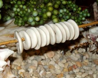 12 matte alabaster white ceramic pinch disc beads - handformed silver dollar flower petal shaped stacking spacer beads