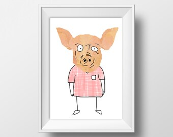 Pig Collage Illustration