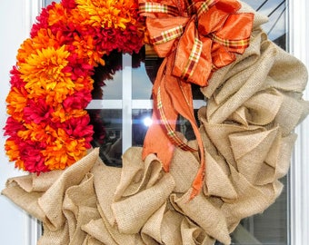 Fall Flower Burlap Wreath, Halloween Wreath, Fall, Burlap Wreath, Thanksgiving Wreath