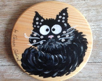 Handpainted glass coasters with Fluffy cat