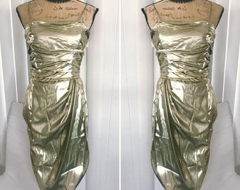 Fabulous Vintage Liquid Gold Sarong Wiggle Dress -- Bonwit Teller -- New with Tags -- Size M