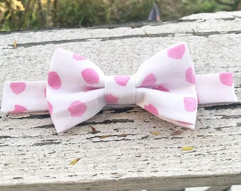 Valentines Day inspired bow tie, white and pink polka dot bow tie with velcro straps for child