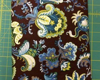 1 yard cut of Blue flowers fabric. Brown background yellow quilt quilting cotton (short bolt)