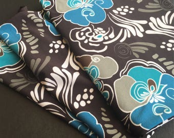 Blue and Brown Floral Print Knit Fabric