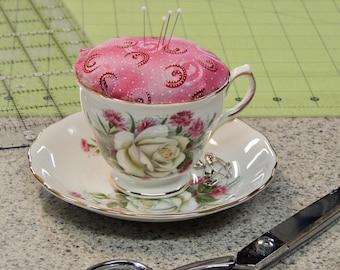 Tea Cup Pin Cushion - Pin Cushion - Vintage Tea Cup Pin Cushion - Free Shipping - Crushed Walnut Shell Pin Cushion