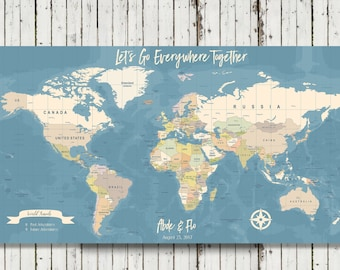World travel map etsy personalized world travel map personalized push pin map detailed world map travel map document your travels map canvas map gumiabroncs Images