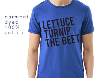 SALE lettuce turnip the beet ® trademark brand OFFICIAL SITE - royal blue cotton tshirt - garment dyed - music festival, crossfit, gym shirt