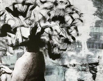 Mess-head no. 009- mixed media - Original Artwork