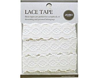 Adhesive deco fabric cotton lace tape M 06 - beige by J&Bobbin