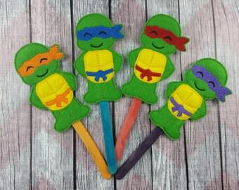 Turtle Ninja Stick Puppets, Michelangelo, Donatello, Leonardo, Raphael