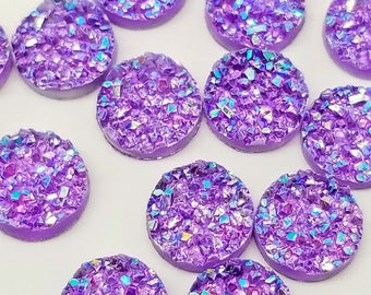 Ab Purple 12mm Crystal Faux Druzy Cabochons 10 pcs - C17:5