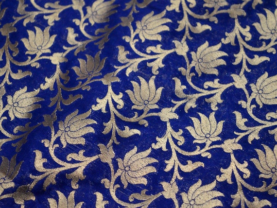 Brocade Fabric by the yard in Navy Blue Gold Indian Fabric Wedding ...