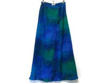 Vintage Alice Of California Maxi Skirt Blue Ruffles XS/S