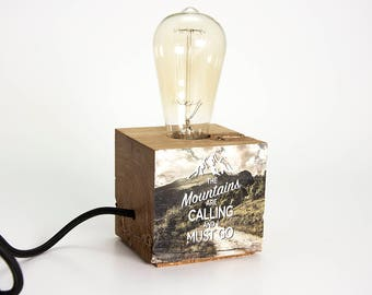 Wood Table Lamp - MOUNTAINS ARE CALLING -