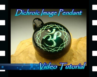 Video Tutorial: Learn how to make a Dichroic Image Pendant with flameworked ( lampworked ) Borosilicate glass by Kenny Talamas