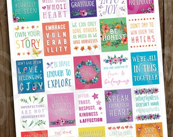 Inspirational Quote Planner Stickers | PRINTABLE Instant Download | Positive Quote Planner Sticker | Full Box fits Erin Condren | Motivation