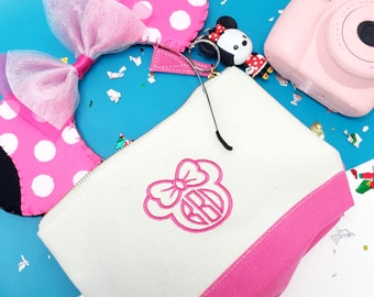 Pink and White Polka Dot Minnie Mouse Ears Headband