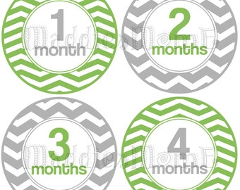 Monthly Baby Boy Stickers Baby Month Stickers, Monthly Bodysuit Sticker, Monthly Stickers (Green Gray Chevron)