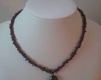 ON SALE Vintage Stone Bead Necklace with Silver Clasp