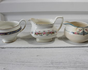 3 Vintage Creamers, White, Ceramic, Stoneware, floral, Shabby Chic, small pitchers,  Lot of 3, mismatched, Tea Party