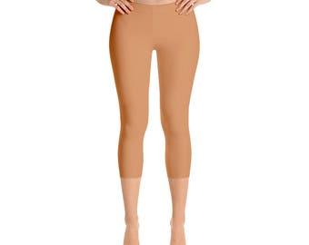Capris Persian Orange Leggings, Workout Wear, Mid Rise Waist Yoga Pants for Women