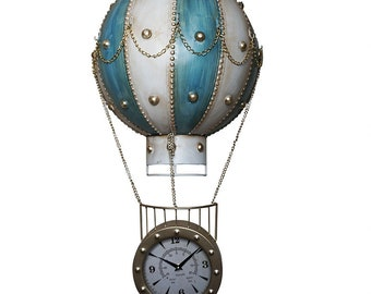 Wall Clock* The Flying Hot Air Balloon -Blue/White (Hand-made)
