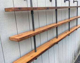 Triple Bookshelf Vintage Industrial Three Shelf Bookcase with Reclaimed Wood Shelf Pipe Wall Mounted Black Iron Pipe Shelf Gas Pipe
