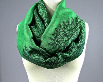 Green Infinity scarf, green scarf , spring scarf, St. Patrick's Day Infinity Scarf