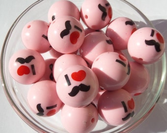 20mm, 10CT, I heart mustache Pink Bubblegum Beads, H36