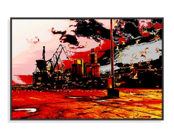 Original painting, dock, Goelans, Port of Lorient, Digital Art, altered photography, fine art, print, wall decor