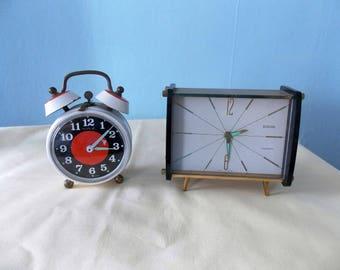 2 x vintage French 1960s Alarm Clocks